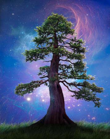 Fantasy tree at night with a beautiful starry sky and nebulas. 3D. Photomanipulation. Illustation