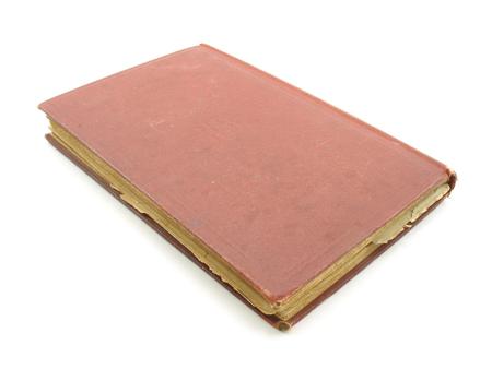 골동품 빨간색 hardback 책입니다. 너덜 너덜하고 노란 페이지 가장자리를 가진 나이를 보여줍니다. 덮개도 조금 더러워졌습니다.