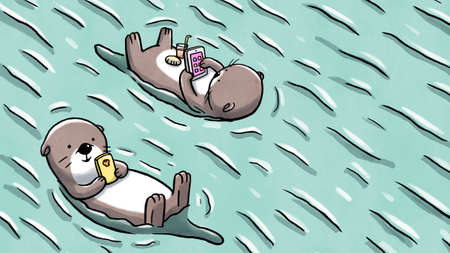 Two otters floating on water holding mobile and tablet 版權商用圖片