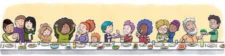 大きな食卓で食事をする家族や友人のグループ(抽象的な黄色の背景) 写真素材