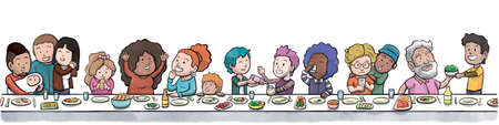 大きな食卓で食事をする家族や友人のグループ(白い背景)