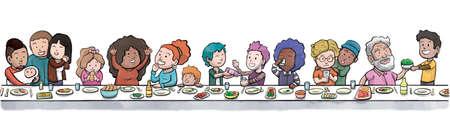 Groep familie en vrienden eten aan een grote eettafel (witte achtergrond)