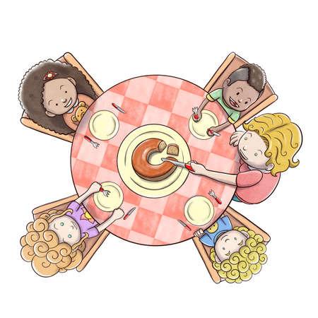 어린이 - 흰색 배경 그룹 케이크를 제공하는 어머니의 공중보기