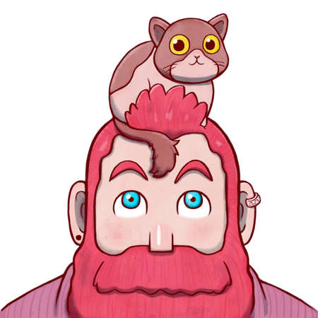 Pink Bearded Man with a Cat on the Top of His Head