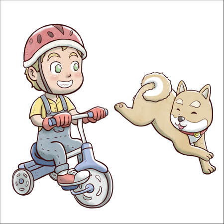 Boy riding a tricycle bike and followed by shiba dog - white background