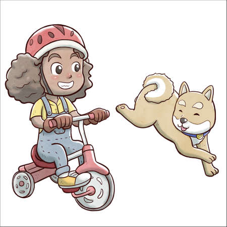 Girl riding a tricycle bike and followed by shiba dog - white background