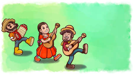 Three people playing instruments in the Festa Junina party. Green watercolor background version.