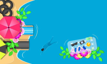 summer season. top view chairs flowers swim ring sunglass on beach and man swimming in the blue sky sea holiday. vector illustration eps10
