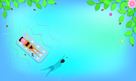 summer season. top view around with leaf flowers beach and woman sleep on floating seat near lotion sunglass.man swimming in the beautiful blue sky sea holiday. free space for your text. vector illustration eps10