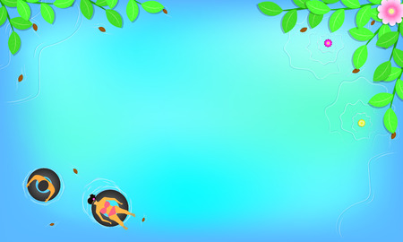 summer season. top view around with leaf flowers beach. man and woman on swim ring in the beautiful blue sky sea holiday. free space for your text. vector illustration eps10