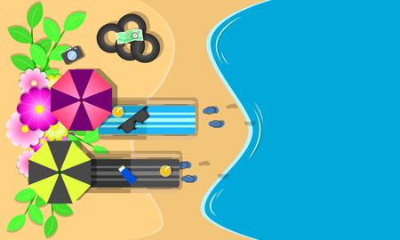 summer season. top view chairs flowers swim ring sunglass on beach blue sky sea holiday. vector illustration eps10 Ilustração