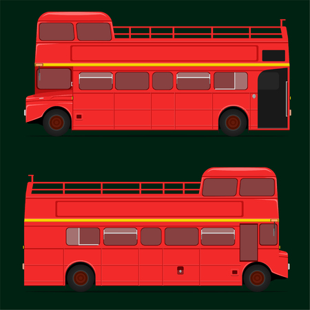 red double decker bus full roof top. london city.vector illustration eps10 Stock Illustratie