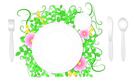 top view dish spoon knife fork and leaf flower background. design template mock up. vector illustration eps10