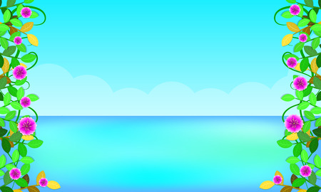 beach around with leaf flowers beautiful blue sky sea holiday. free copy space for your text. vector illustration eps10