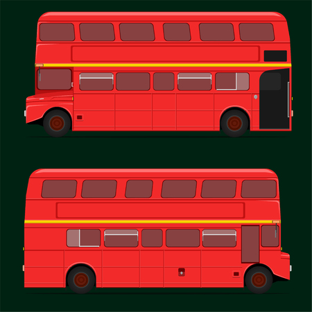 red double decker bus full roof top. london city.vector illustration eps10  イラスト・ベクター素材