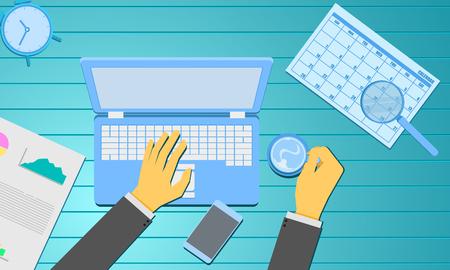 gestión de redes sociales escribiendo información de caracteres a mano y sosteniendo el calendario de informes de gráficos de café. concepto de marketing empresarial. madera azul verde fondo vector ilustración eps10