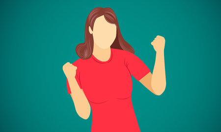 woman show hand success finish goal on target vector illustration eps10
