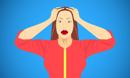woman put hand on head for scared shocked frightened appalled skit emotions. vector illustration eps10