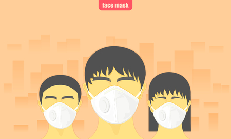 dust critical. people wearing protect face mask from air pollution in the city vector illustration eps10 Illustration