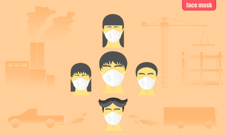 people wearing protect face mask from car bus industrial construction air pollution in the city vector illustration eps10