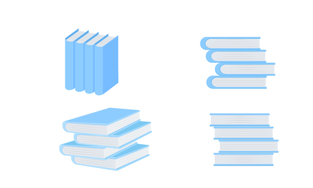set of books blue tone vector illustration eps10