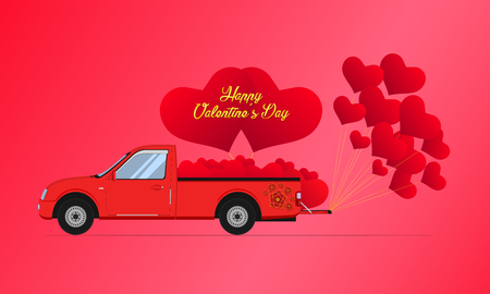 happy valentines day gold. red pickup truck car carry floating heart. vector illustration eps10 Illustration