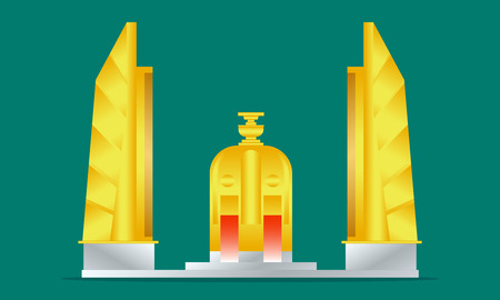 democracy monument gold and silver bangkok thailand vector illustraion eps10