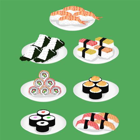 Le sushi est un plat japonais d'illustration vectorielle de riz vinaigré spécialement préparé