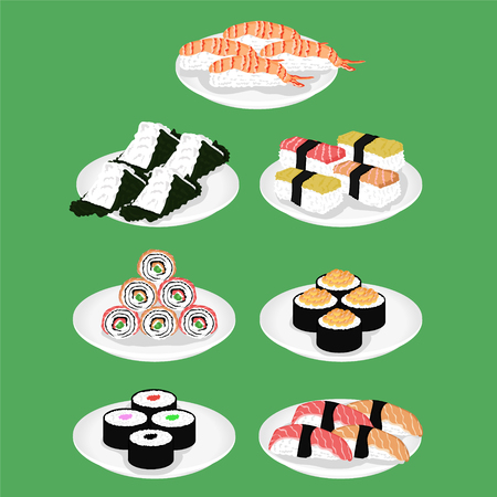 Sushi is a Japanese dish of specially prepared vinegared rice vector illustration
