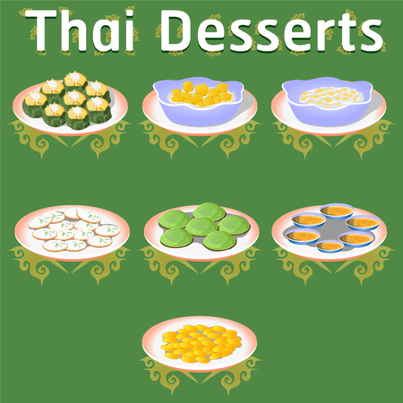 thai desserts sweet banana coconut homemade traditional tasty sugar khanom vector illustration