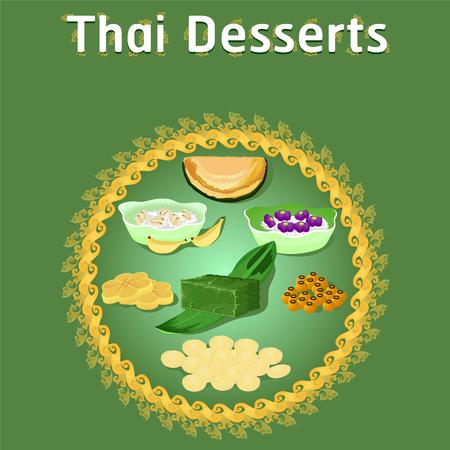 Thai Khanom Desserts süßer Zucker leckere Wanne Tim Banane Kokos köstliche Kastanie hausgemachte Vektor-Illustration jetzt herunterladen Vektorgrafik