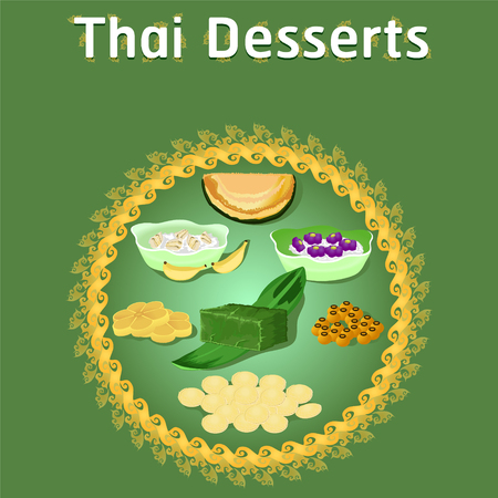 thai khanom desserts sweet sugar tasty tub tim banana coconut delicious chestnut homemade vector download now illustration Vectores