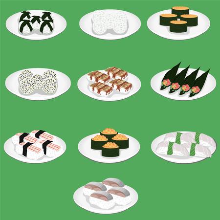 sushi is a japanese dish of specially prepared vinegared rice aji amaebi anago conger eel ebi nigiri fried egg hamachi hotate ika ikura gunkan maki shrimp salmon food Illustration
