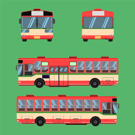 thai bus red green white transport car vehicle driver fare passenger autobus omnibus coach rail bench chair stool armchair seat mattress bolster hassock pad vector illustration
