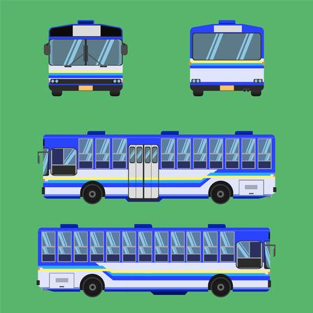thai bus blue sky yellow white transport car vehicle driver fare passenger autobus omnibus coach rail bench chair stool armchair seat mattress bolster hassock pad vector illustration