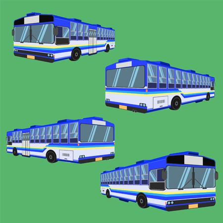 3d thai bus blue sky yellow white transport car vehicle driver fare passenger autobus omnibus coach rail bench chair stool armchair seat mattress bolster hassock pad vector illustration