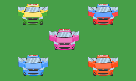 thai taxi  cap car front back view open door transport service passenger vehicle type yellow green purple blue orange red vector illustration