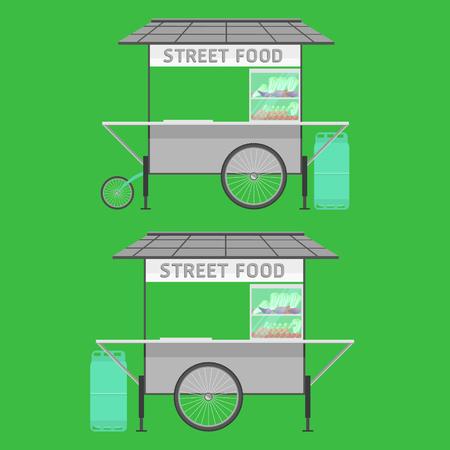 thailand street food cart waggon wagon trolley barrow vector illustration
