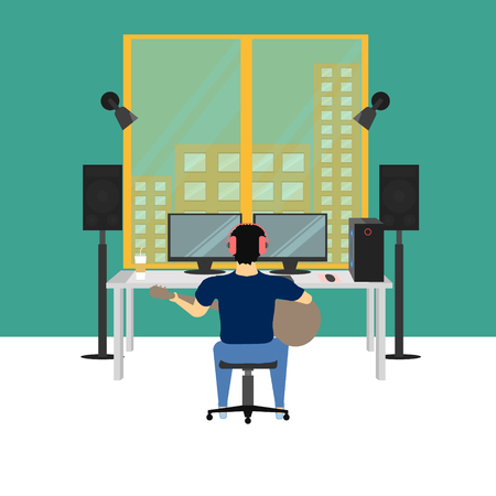 music studio room vector illustration eps10