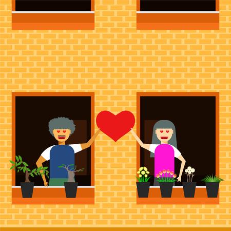 love couple next door vector illustration eps10