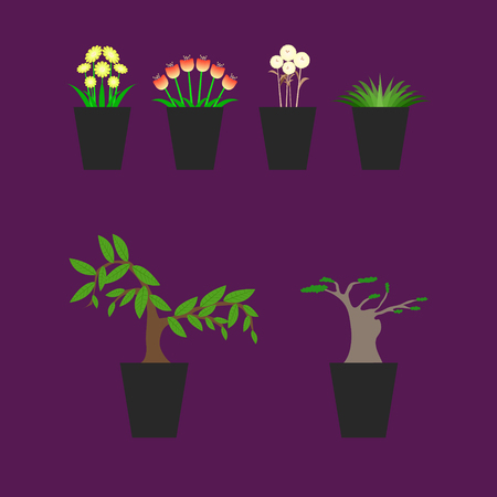 tree bonsai flower pot pitcher vessel vector illustration eps10 Illustration