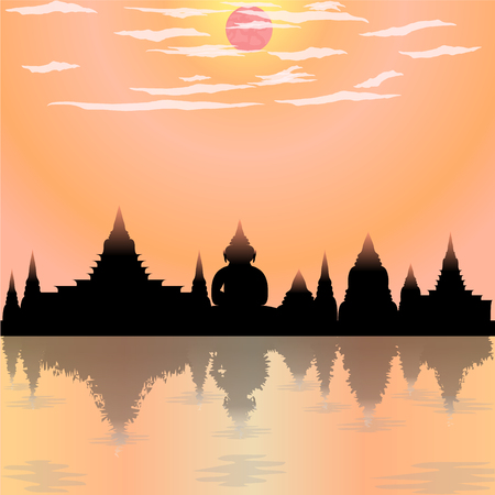loy krathong festival temple silhouette buddha culture moon asia thailand night river siam sky religion vector illustration Иллюстрация