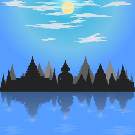 loy krathong festival silhouette temple blue mode buddha culture moon asia thailand night river siam sky religion vector illustration