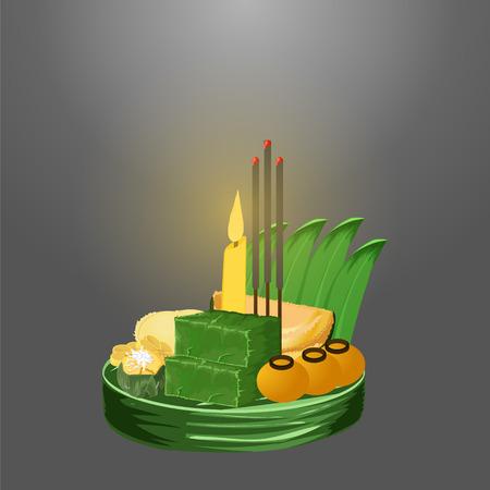 loy krathong festival  thai dessert vector illustration eps10