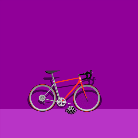 bike ride on the road purple mode color sport recreation exercise healthy helmet lifestyle outdoor vector illustration