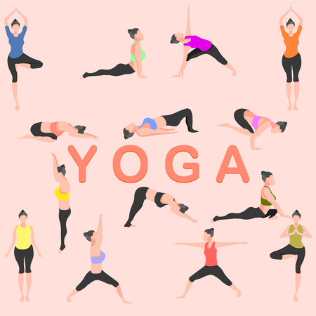 yoga pose mountain downward dog warrior tree bridge triangle  cobra pigeon crow childs female fitness girl gym energy vector illustration