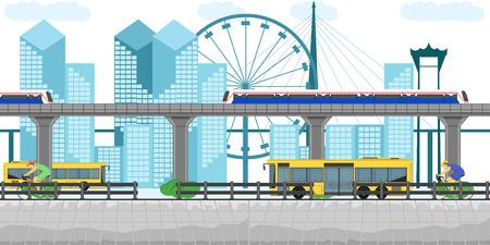 thailand transportation bus but skytrain bicycle building town downtown car subway metro bangkok traffic landmark vector illustration design tourist urban road station railway city vector illustration eps10 Illustration