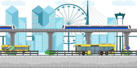 thailand transportation bus but skytrain bicycle building town downtown car subway metro bangkok traffic landmark vector illustration design tourist urban road station railway city vector illustration eps10