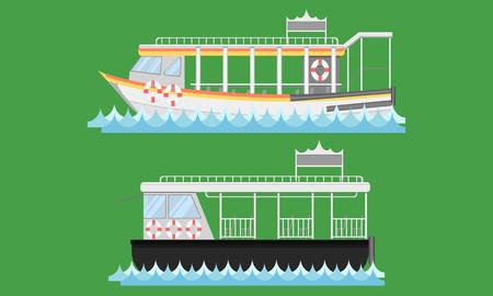Expressboot Schiff Boot Schiffsschiff Lastkahn Arche Flusswasser Rettungsring Lastkahn Schwimmer Floß Kahn Kinderwagen Ponton Passagier Fahrpreis Stuhl Pad Ticket Vektor Illustrator Vektorgrafik