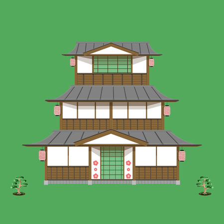 japanese old home three floor front view vector green no sign you can download now becuase it is beautiful illustration eps10
